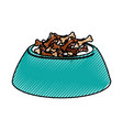 scribble dog food in bowl vector image