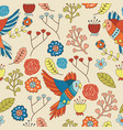 seamless bird floral pattern wallpaper vector image