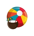 beach ball and coconut cocktail icon vector image