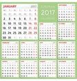 2017 Calendar Design Week starts from Monday vector image