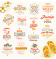 Set of summer holdays vacation and travel type vector image vector image