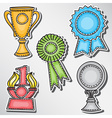 Trophies and awards set - stickers vector image