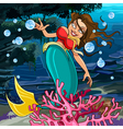 cartoon mermaid underwater vector image