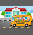 kids riding on school bus to school vector image