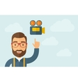 Man pointing the video camera ivon vector image