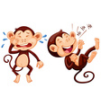 Monkey crying and laughing vector image