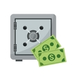 safe box and dollar bills icon vector image