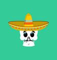 Skull in sombrero surprised emoji mexican vector image