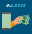 smartphhone technology and hand with bills money vector image
