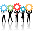 People team up technology solution gears vector image vector image