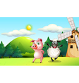 Farm animals dancing near the windmill vector image
