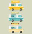 set of color food truck street food truck concept vector image