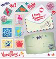 Set of vintage post stamps postcard and envelope vector image vector image
