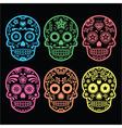 Mexican sugar skull Dia de los Muertos icons vector image