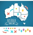 Hand drawn Australia travel map with pins vector image