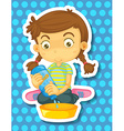 Girl cleaning vector image vector image