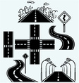 Road symbols with winding highways vector image