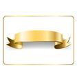 Gold satin ribbon on white 9 vector image
