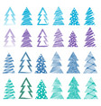 christmas and new year trees set vector image