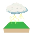 Cloud and lightning icon cartoon style vector image