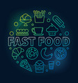 fast food round colorful symbol vector image