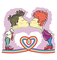 gay couple kissing vector image