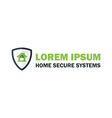 Green Home Security System Logo with Padlock vector image