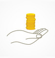 hand holding coins vector image