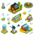 farm landscape elements set vector image