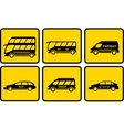 set yellow passenger transport icon vector image
