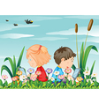Kids at the garden with their laptops vector image vector image