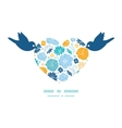 blue and yellow flowersilhouettes birds vector image vector image