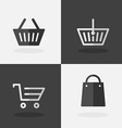 Shopping Bag Icons on Dark and White Background vector image