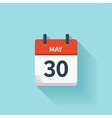 May 30 flat daily calendar icon Date and vector image