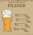 vintage of card with recipe of pilsner beer vector image