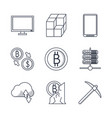 blackchain icons set vector image