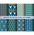 Collection of pixel bright seamless patterns vector image
