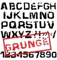 Grunge retro font Stamped type black vector image