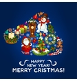 Happy New Year Merry Christmas design vector image
