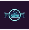Round Blue Poker Neon Sign vector image