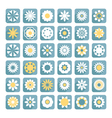set of flower flat flowers icons vector image