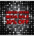 Big sale poster with LIMITED OFFER MEGA SALE 30 vector image