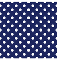 Seamless pattern white polka dots navy background vector image