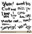 Set of Hand written short phrases HELLO KISS ME vector image