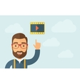 Man pointing the film strrip icon vector image