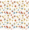 Cute Happy Birthday seamless pattern with colorful vector image