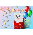 congratulation with kitten vector image
