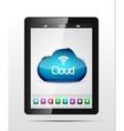 tablet cloud storage concept vector image