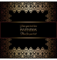 Vintage gold invitation or wedding card on black vector image