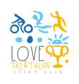 love triathlon sport club logo colorful hand vector image